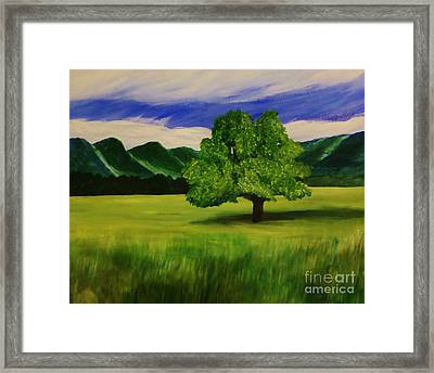 Tree In A Field Framed Print by Christy Saunders Church