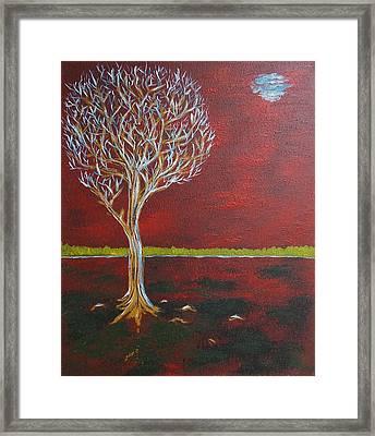 Tree In Moonlight Framed Print by Zeke Nord