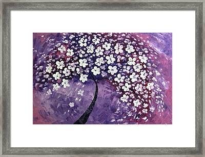 Tree In Purple Framed Print by Mariana Stauffer