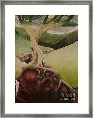 Tree In The Valley Framed Print