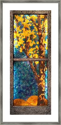 Tree Inside A Window Framed Print