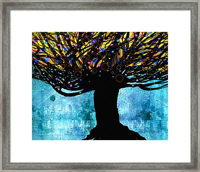 Tree Of Life Blue And Yellow Framed Print by Ann Powell