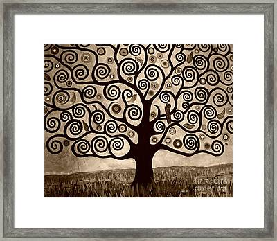 Tree Of Life In Sepia Framed Print by Samantha Black
