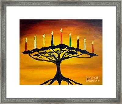 Tree Of Life Menorah Framed Print by Avishai Avi     Peretz