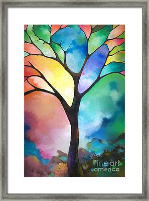 Original Art Abstract Art Acrylic Painting Tree Of Light By Sally Trace Fine Art Framed Print