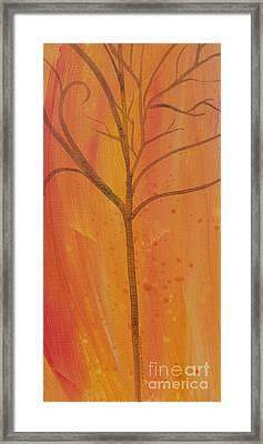 Framed Print featuring the painting Tree Of Three Coral by Robin Maria Pedrero
