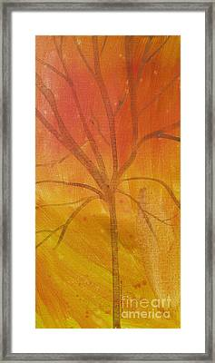 Framed Print featuring the painting Tree Of Three Gold by Robin Maria Pedrero