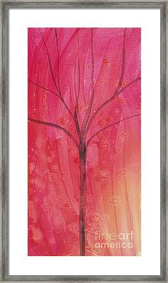 Framed Print featuring the painting Tree Of Three Pink by Robin Maria Pedrero