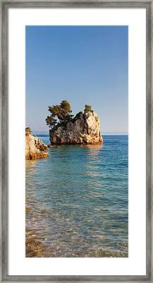 Tree On A Rock In The Sea, Brela Framed Print by Panoramic Images
