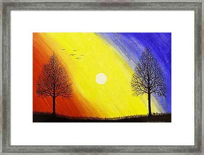 Tree Silhouette At Sunset Painting Framed Print by Keith Webber Jr
