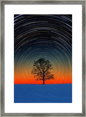 Framed Print featuring the photograph Tree Silhouette With Star Trails by Larry Landolfi