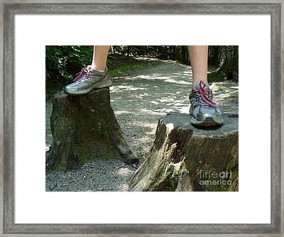 Tree Stump Stilts Framed Print