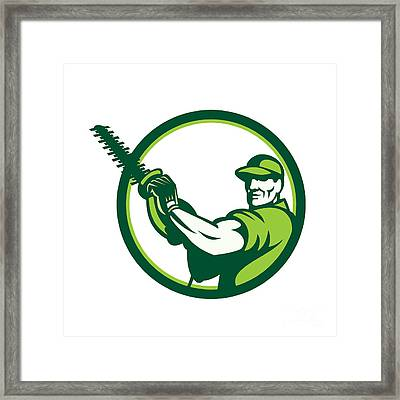 Tree Surgeon Holding Hedge Trimmer Retro Framed Print