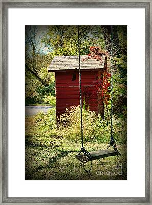 Tree Swing By The Outhouse Framed Print