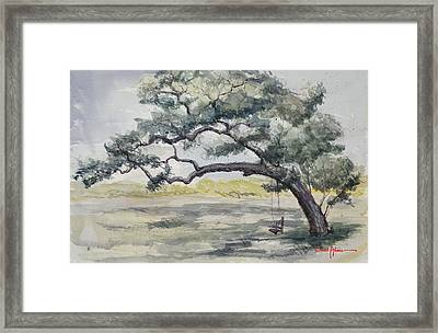 Da187 Tree Swing Painting By Daniel Adams Framed Print