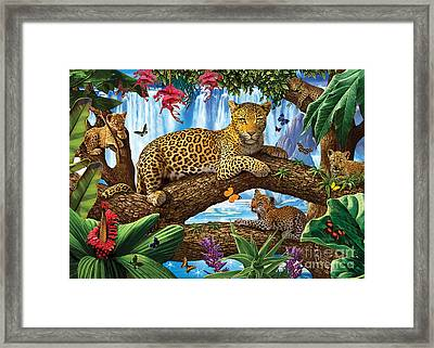 Tree Top Leopard Family Framed Print