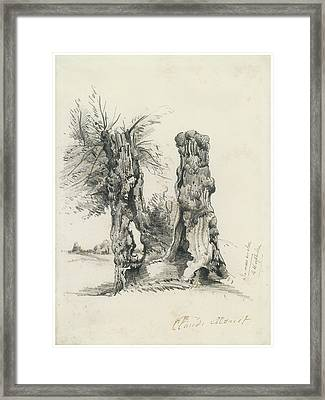 Tree Trunks At La Mare Eu Clere Framed Print