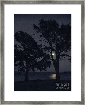 Tree Whispers In Midnight Blue Framed Print by Cheryl Wood