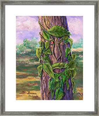Tree With A Leaf Face Landscape Art Framed Print