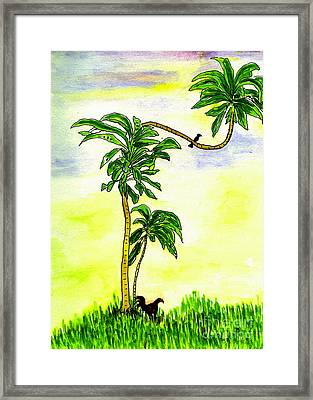 Framed Print featuring the painting Tree With Birds by Mukta Gupta