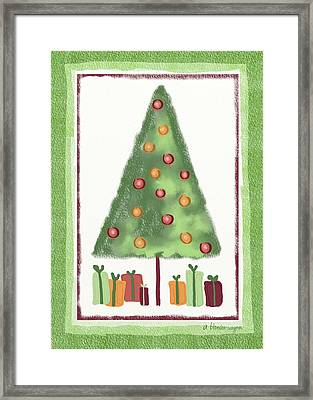 Framed Print featuring the digital art Tree With Presents by Arline Wagner