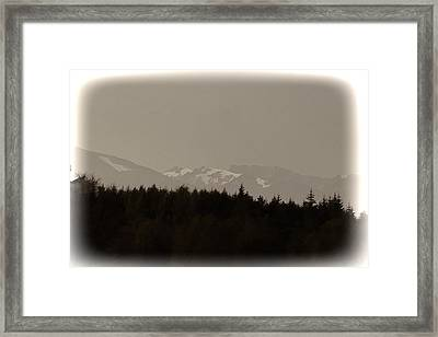 Treeline With Ice Capped Mountains In The Scottish Highlands Framed Print