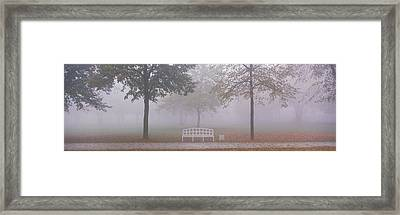 Trees And Bench In Fog Schleissheim Framed Print