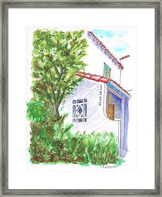 Trees And Colonial House Entrance In West Hollywood - California Framed Print