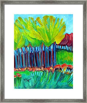 Trees And Meadow Framed Print by Betty Pieper