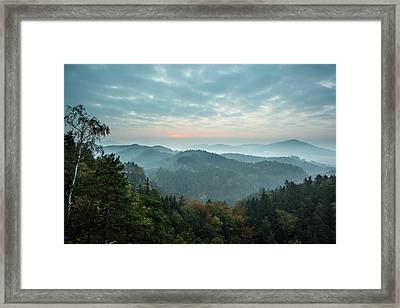 Trees And Mountain Range Against Cloudy Framed Print by Wavebreakmedia Ltd