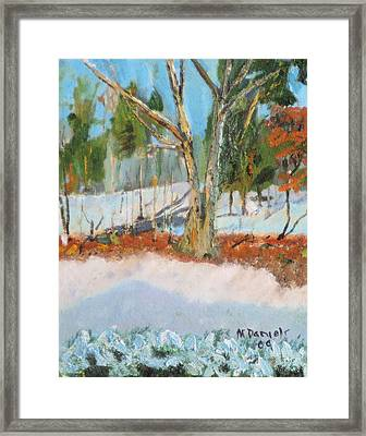 Trees And Snow Plein Air Framed Print