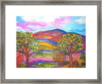 Trees And The Mountain Framed Print