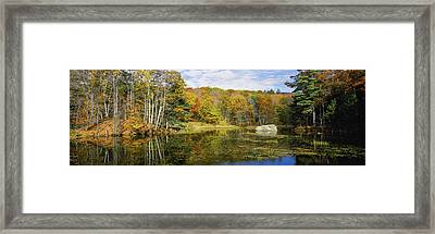 Trees At Lakeside In Autumn, Hancock Framed Print by Panoramic Images