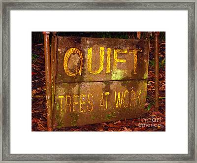 Trees At Work Framed Print by Christine Stack