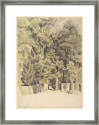 Trees By An Entrance To A Park Framed Print by Theodosius Forrest