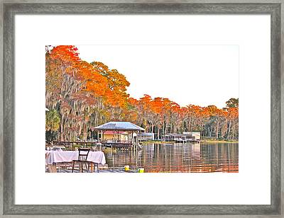 Trees By The Lake Framed Print by Lorna Maza