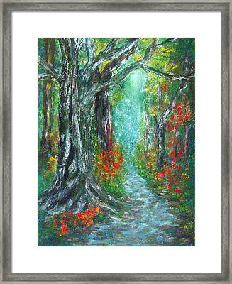 Trees By The Stream Framed Print by Lyn Deutsch