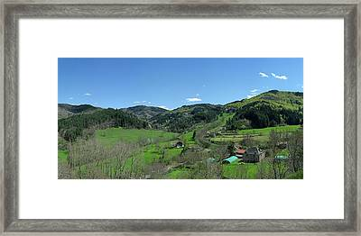 Trees In A Field With Mountain Range Framed Print by Panoramic Images