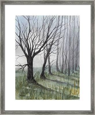 Trees In Fog Framed Print