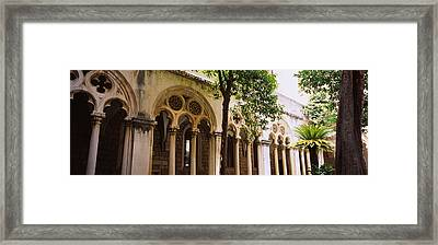 Trees In Front Of A Monastery Framed Print by Panoramic Images