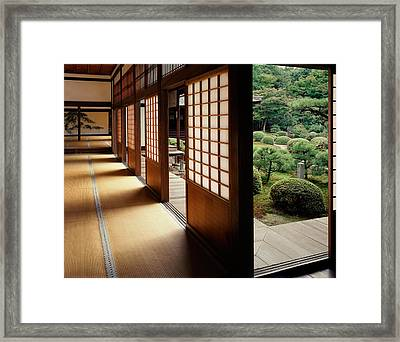 Trees In Front Of A Temple, Zuishin Framed Print by Panoramic Images
