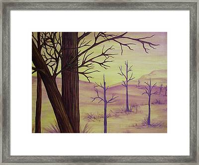 Trees In Gold Landscape Framed Print by Jan Wendt
