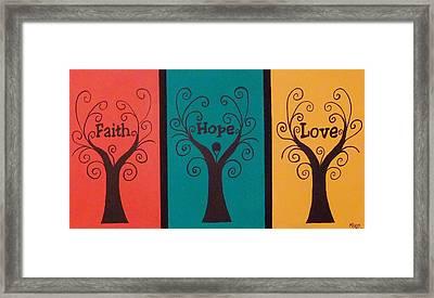 Trees Of Faith Hope Love Triptic Framed Print by Cindy Micklos