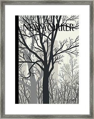Trees On A Gloomy Day With A Faint View Framed Print by Jorge Colombo