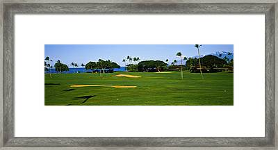 Trees On A Golf Course,kaanapali Golf Framed Print