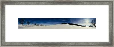 Trees On A Snow Covered Landscape, St Framed Print by Panoramic Images
