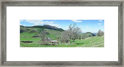 Trees On Hill With Mountain Range Framed Print by Panoramic Images