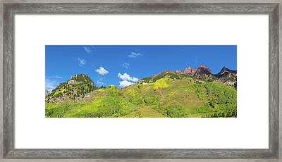 Trees On Mountain, Maroon Bells, Maroon Framed Print