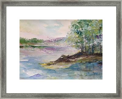 Trees On Water's Edge Framed Print