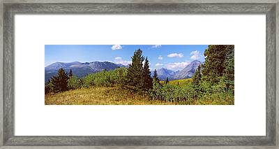 Trees With Mountains In The Background Framed Print by Panoramic Images